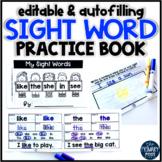 EDITABLE Sight Word Practice Book