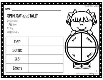 Sight Words Activity 1st Grade Spin, Say & Tally (EDITABLE)
