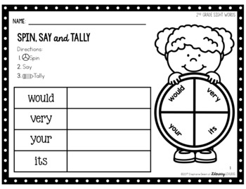 EDITABLE Sight Words Activity: Spin, Say and Tally (2nd Grade)