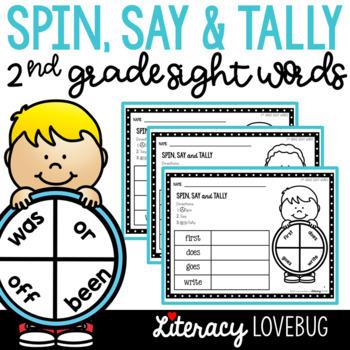 Sight Words Activity 2nd Grade Spin, Say & Tally (EDITABLE)