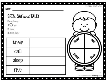 Sight Words Activity 2nd Grade Spin, Say & Tally (EDITABLE)