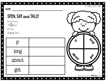 Sight Words Activity: 3rd Grade Spin, Say & Tally (EDITABLE)