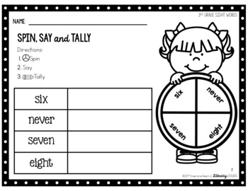 Sight Words Activity 3rd Grade Spin, Say & Tally (EDITABLE)