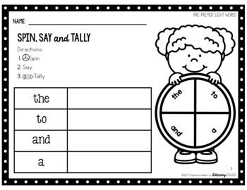 Sight Words Activity: Pre-Primer Spin, Say & Tally (EDITABLE)