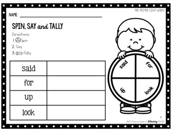 Sight Words Activity Pre-Primer Spin, Say & Tally (EDITABLE)