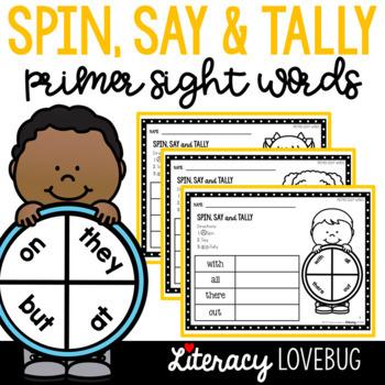 Sight Words Activity: Primer Spin, Say & Tally (EDITABLE)