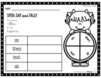 Sight Words Activity Primer Spin, Say & Tally (EDITABLE)