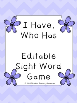 Sight Words Game EDITABLE!