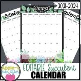 EDITABLE Simple Succulent Theme Calendar - Teacher/Parent