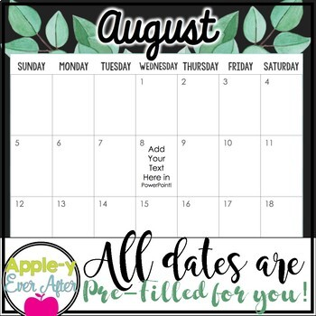EDITABLE Simple Succulent Theme Calendar - Teacher/Parent Monthly Newsletter