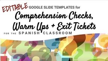 EDITABLE Slides - Spanish Comprehension Checks, Warm Ups, Exit Tickets, Quizzes