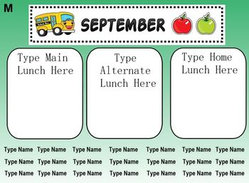 EDITABLE Smart Notebook Lunch Count/Attendance September - June