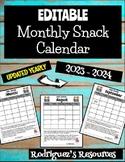 EDITABLE Snack Calendar