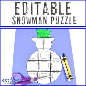 EDITABLE Snowman Centers or Activities - Make your own Math or Literacy Puzzles!