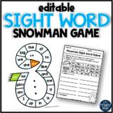 EDITABLE Snowman Sight Word Game