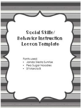 EDITABLE - Social Skills and Behavior Instruction Lesson Plan Template