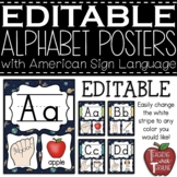 EDITABLE Space Themed Alphabet Posters with American Sign