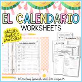 Spanish Calendar Worksheets - Editable - Distance Learning