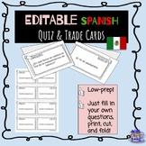 EDITABLE Spanish cooperative learning quiz trade cards en Español