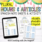 Spanish Noun and Article Activity - EDITABLE - Distance Learning