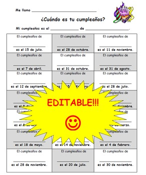 EDITABLE!- Spanish speaking activity- ¿Cuándo es tu cumpleaños?