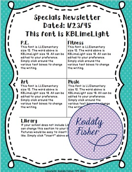 editable specials newsletter template elementary by kodaly fisher