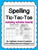 EDITABLE Spelling Tic-Tac-Toe Boards