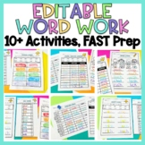 EDITABLE Spelling & Word Work Activities for ANY List of Words!