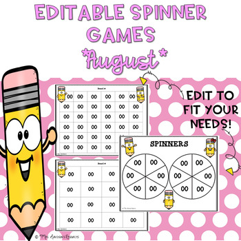 EDITABLE Spinner Games August