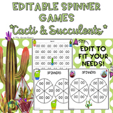 EDITABLE Spinner Games Cacti and Succulents Theme