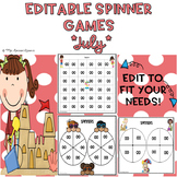 EDITABLE Spinner Games July