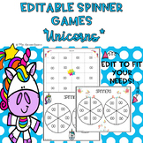 EDITABLE Spinner Games Unicorn Theme