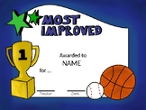 EDITABLE Sport Themed Certificates