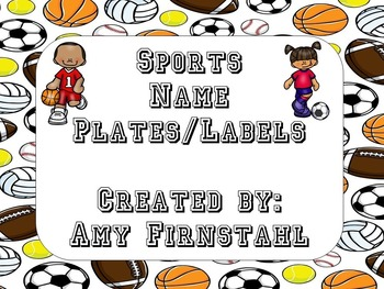 EDITABLE Sports-theme Name Plates/Labels!