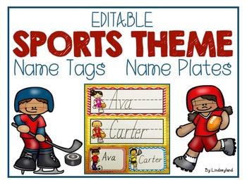 EDITABLE Sports Name Tags and Name Plates