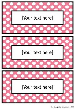 EDITABLE Spotty Labels