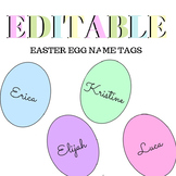 EDITABLE Spring Easter Egg Name Tags - Blank and Color - B