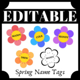 EDITABLE Spring Flower Name Tags #2 Great for BULLETIN BOA