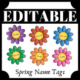 EDITABLE Spring Flower Name Tags - Great for BULLETIN BOAR