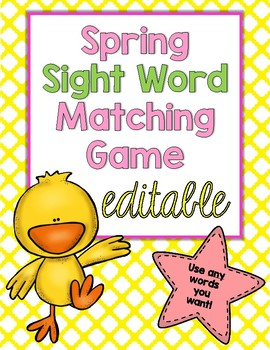 EDITABLE Spring Sight Word Matching