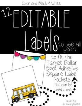 EDITABLE Square Labels {Dollar Spot Adhesive Pockets}