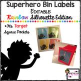 EDITABLE Square Labels-Superhero Silhouette Edition