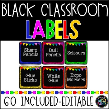 EDITABLE Black CLASSROOM Labels {for Target Dollar Spot SQ