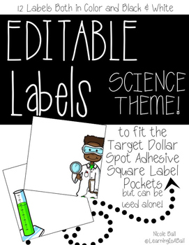 EDITABLE Square SCIENCE Labels {Dollar Spot Adhesive Pockets}