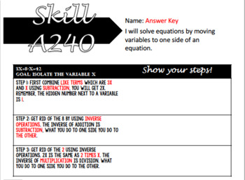 EDITABLE Step by Step: Two Step Equations With Variables on Both sides Foldable