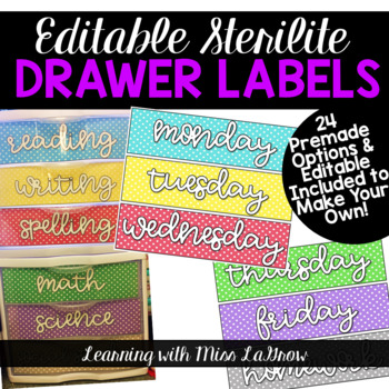 EDITABLE Sterilite Drawer Labels + Subjects, Days, and More Included