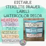 EDITABLE-Sterilite Drawer Labels-Watercolor Decor