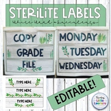 Sterilite Drawer Labels and 10 Drawer Cart Labels: Watercolor Succulent Theme