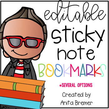 EDITABLE Sticky Note Bookmarks