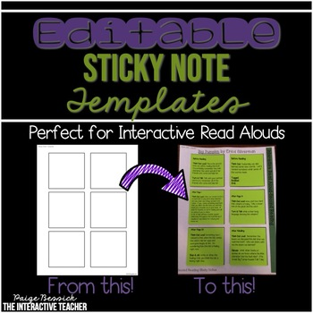 EDITABLE Sticky Note Templates